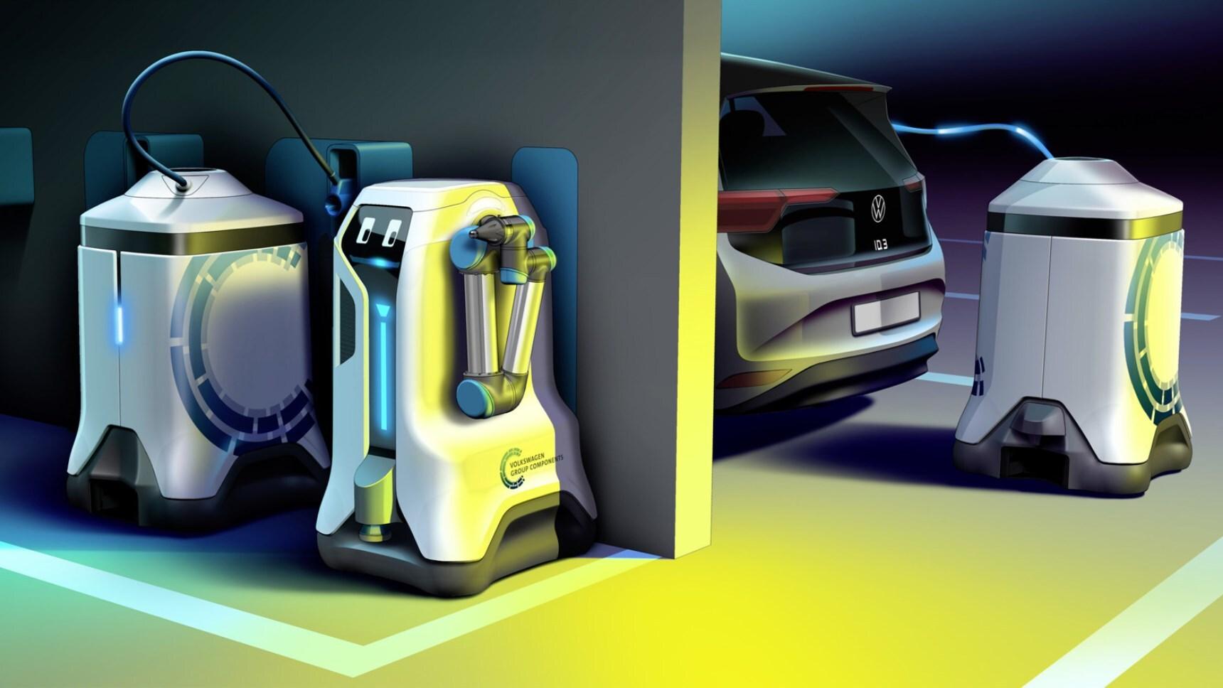 Видео: Электрокары Volkswagen подзаряжают роботы