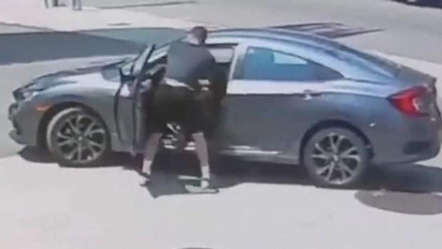 Видео: боец ММА застукал вора за попыткой украсть его авто