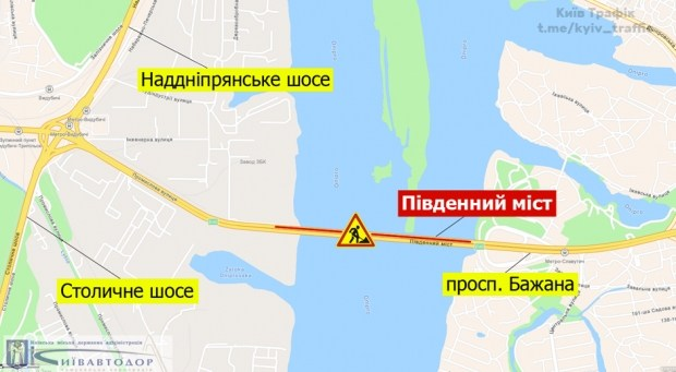 В Киеве больше чем на месяц частично перекрыли Южный мост: схема